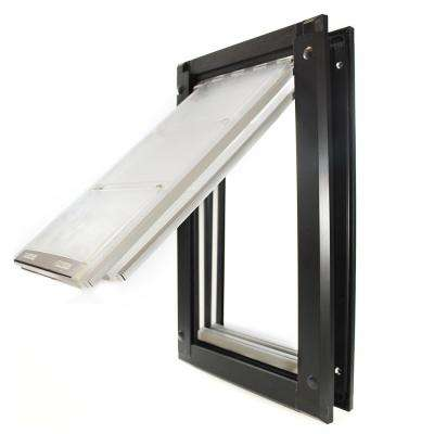 10 in. x 18 in. Large Double Flap for Doors with Black Aluminum Frame