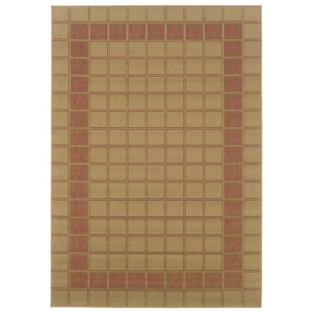 Oriental Weavers Nevis Plaza Beige/Rust 5 ft. 3 in. x 7 ft. 6 in. Area Rug