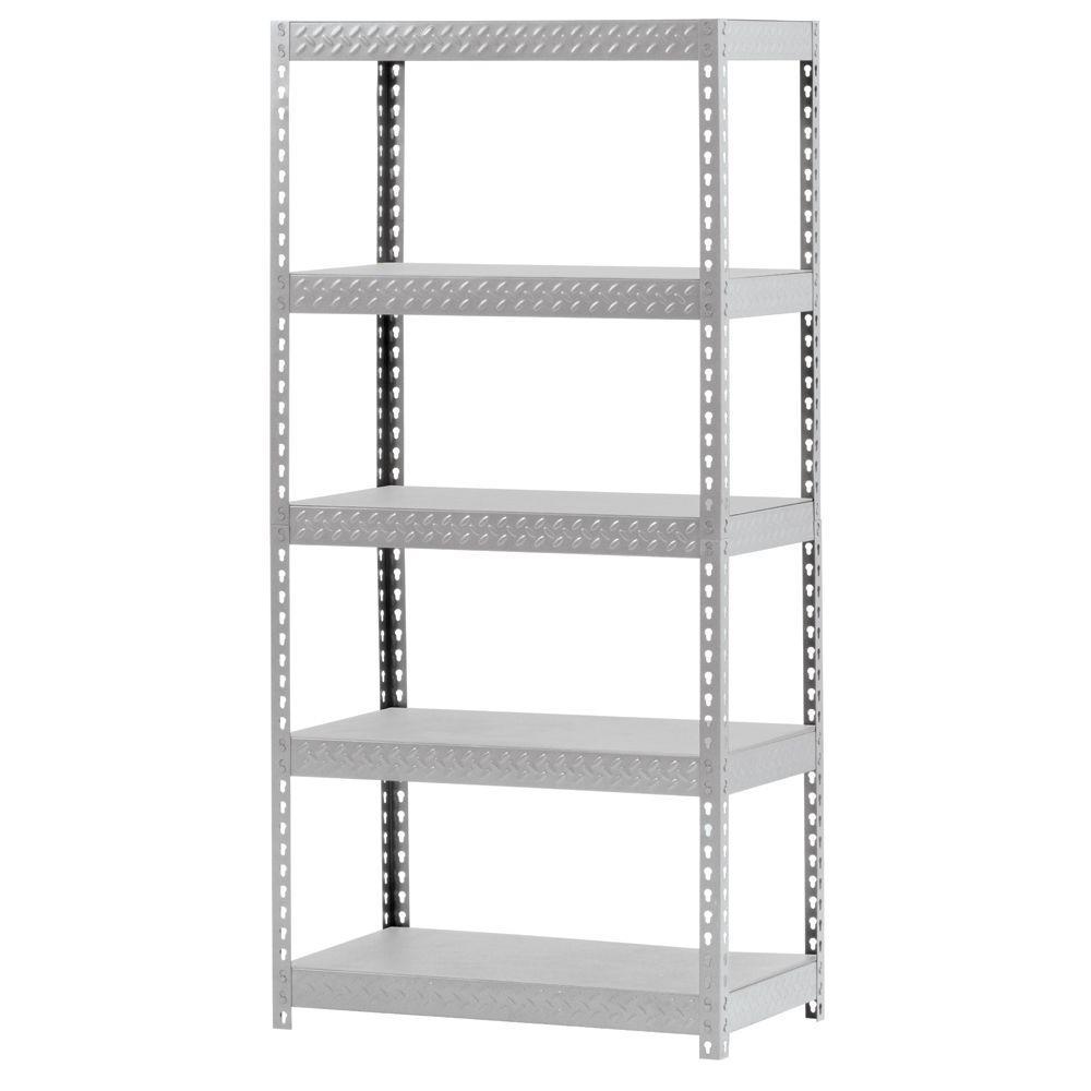 36 in. W x 72 in. H x 18 in. D 5-Shelf Steel Treadplate Shelving Unit in Silver