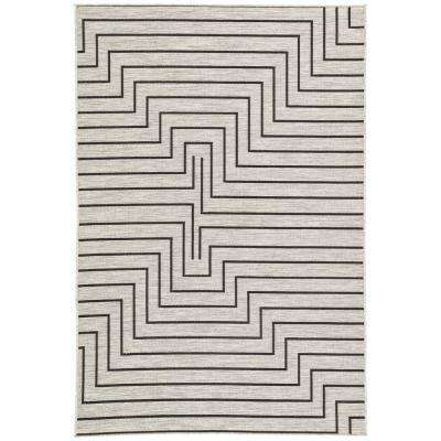 Decora by Nikki Chu Silver 9 ft. x 12 ft. Geometric Rectangle Indoor-Outdoor Area Rug