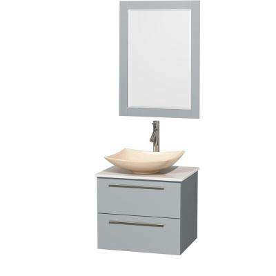 Amare 24 in. W x 19.5 in. D Vanity in Dove Gray with Solid-Surface Vanity Top in White with Ivory Basin and Mirror