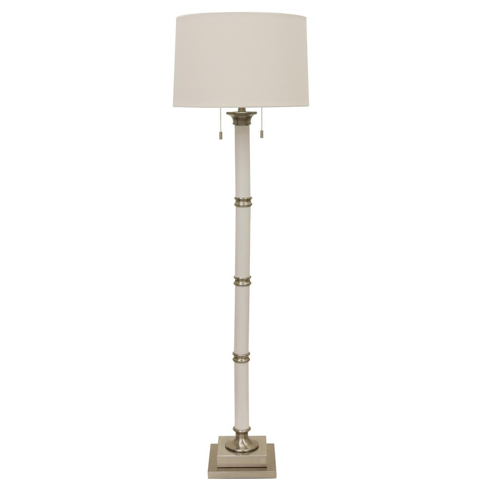 Decor Therapy Alice 60 In Antique Gesso Floor Lamp With Faux Silk When Turns The Switch On Bulbs Do Not Light Up Column Brushed Steel Linen Shade