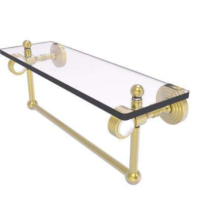 Pacific Grove Collection 16 Inch Glass Shelf with Towel Bar and Groovy Accents in Satin Brass