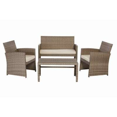 Superb Park Trail Grey 4 Piece Wicker Patio Conversation Set With Light Brown Cushions Lamtechconsult Wood Chair Design Ideas Lamtechconsultcom