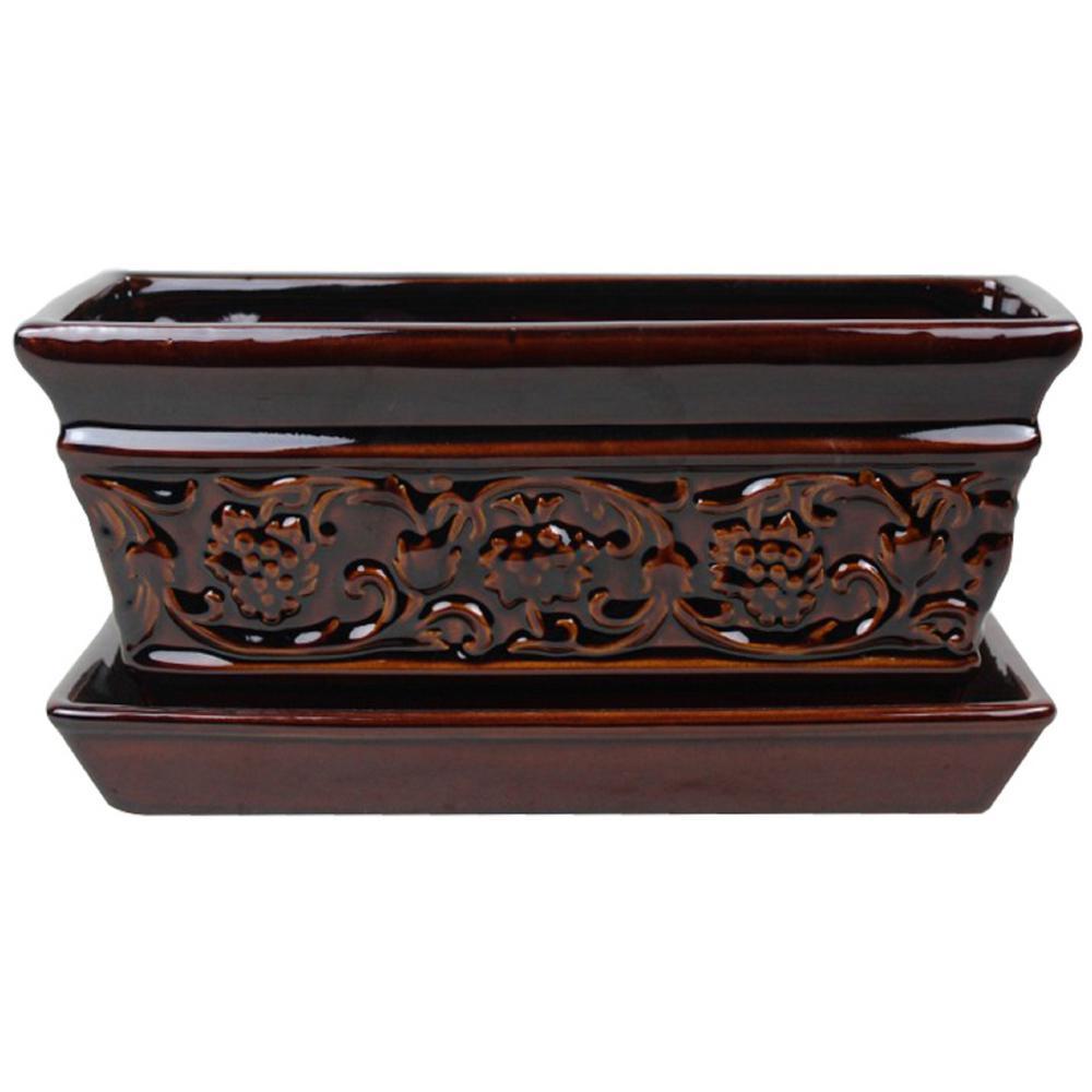 10 in. Dia Brown Rustic Damask Ceramic Window Box