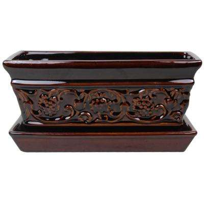 10 in. Dia Brown Rustic Damask Ceramic Window Box