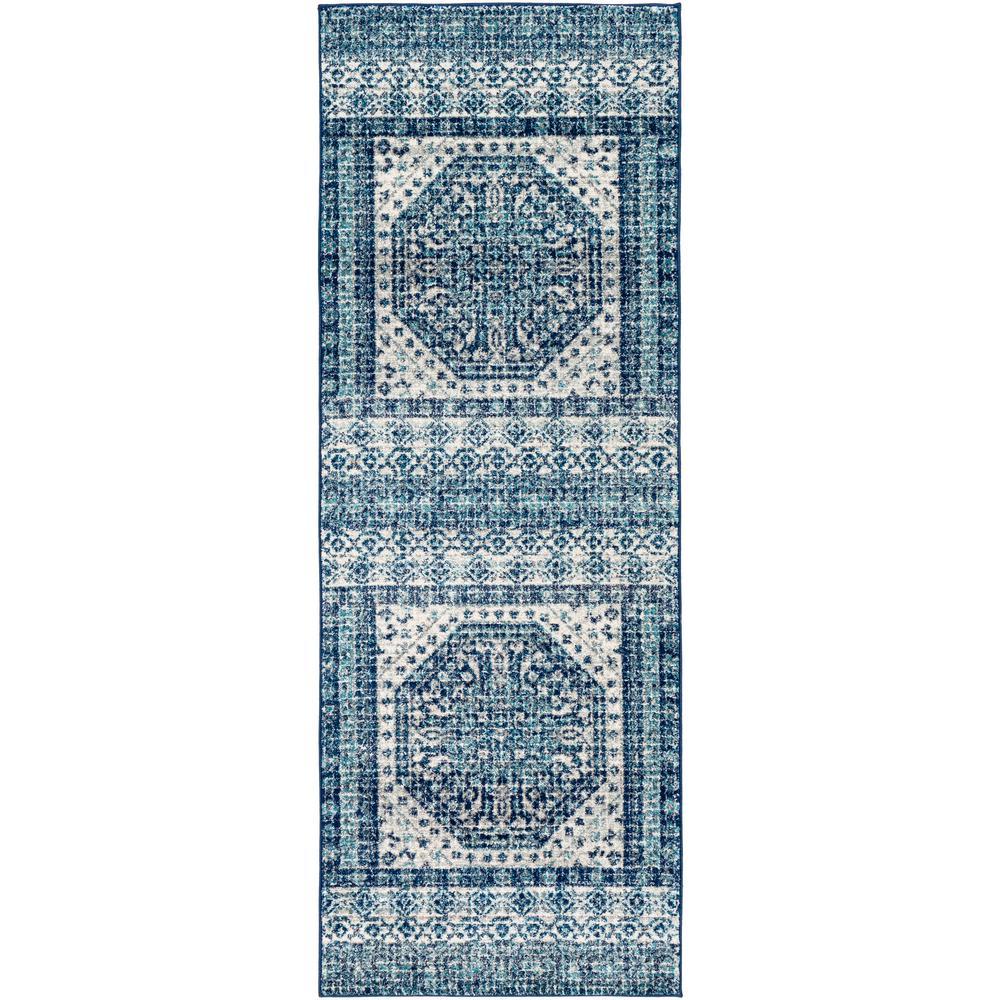 Kassandra Dark Blue 2 ft. 7 in. x 7 ft. 3 in. Medallion Area Rug