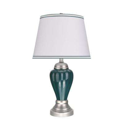 26 in. Hunter Green Ceramic Table Lamp with Hardback Empire Shaped Lamp Shade in Off-White