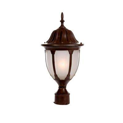Suffolk Collection Post-Mount 1-Light Outdoor Burled Walnut Fixture