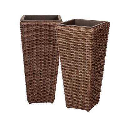 Alto 40 in. Mocha Resin Wicker Planter (2-Piece)