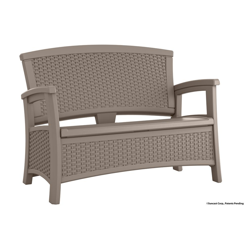 Suncast elements resin outdoor loveseat with storage bmwb5000dt the home depot Storage loveseat