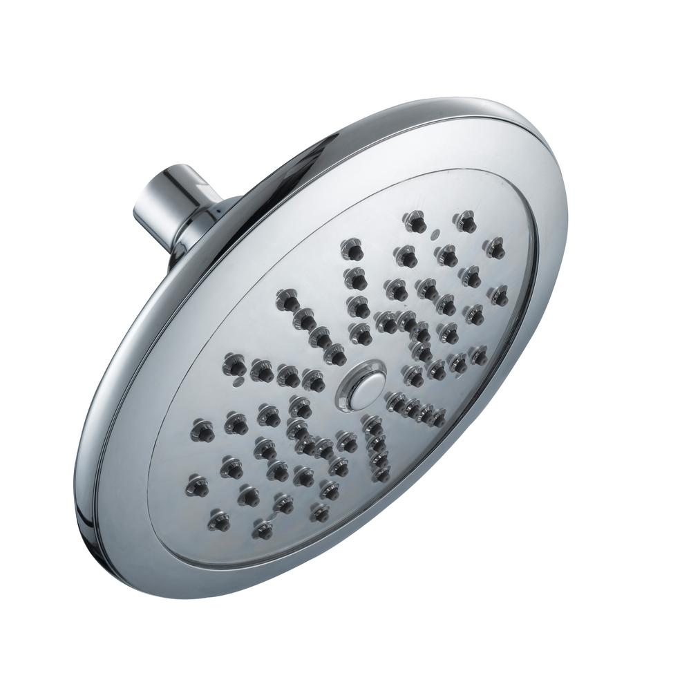 Glacier Bay Water Powered LED Lighted 1-Spray 7 in. Single Function Fixed Shower Head in Chrome