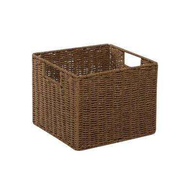 13 in. x 10 in. Parchment Cord Crate Basket in Brown