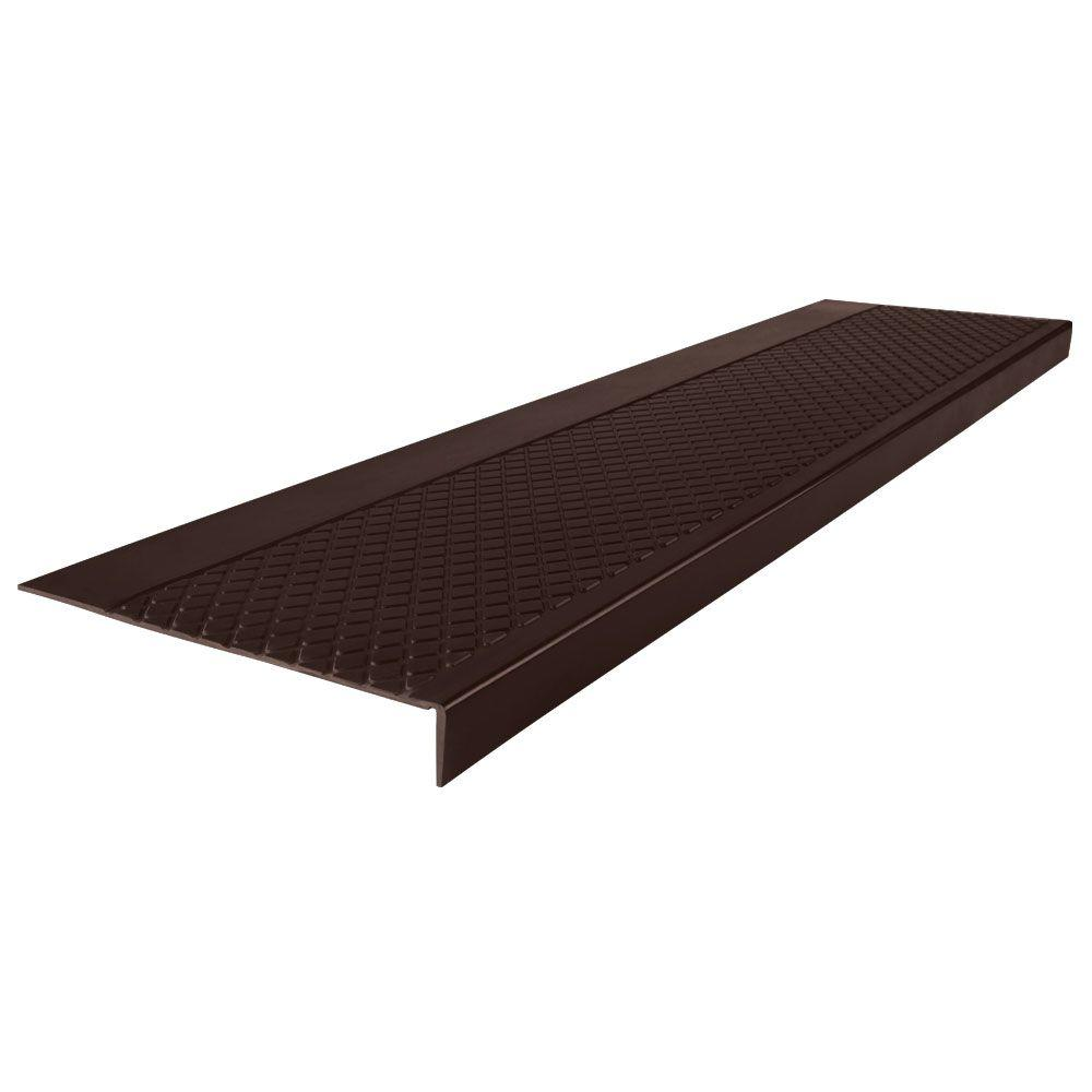 Diamond Profile Brown 12 in. x 60 in. Square Nose Stair