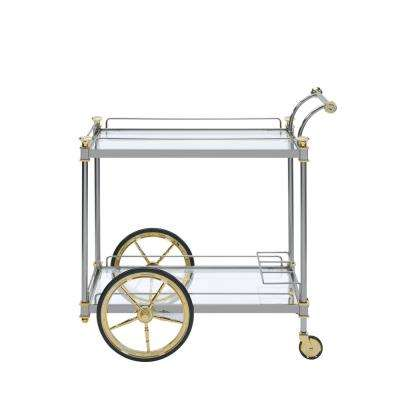 Cyrus Silver and Clear Glass Serving Cart