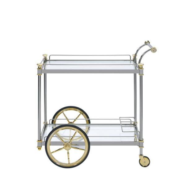 Acme Furniture Cyrus Silver and Clear Glass Serving Cart