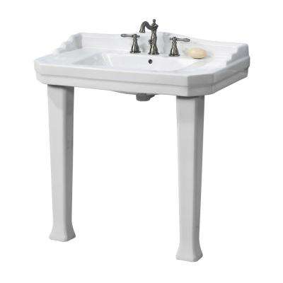 Series 1900 Console Lavatory and Pedestal Combo in White