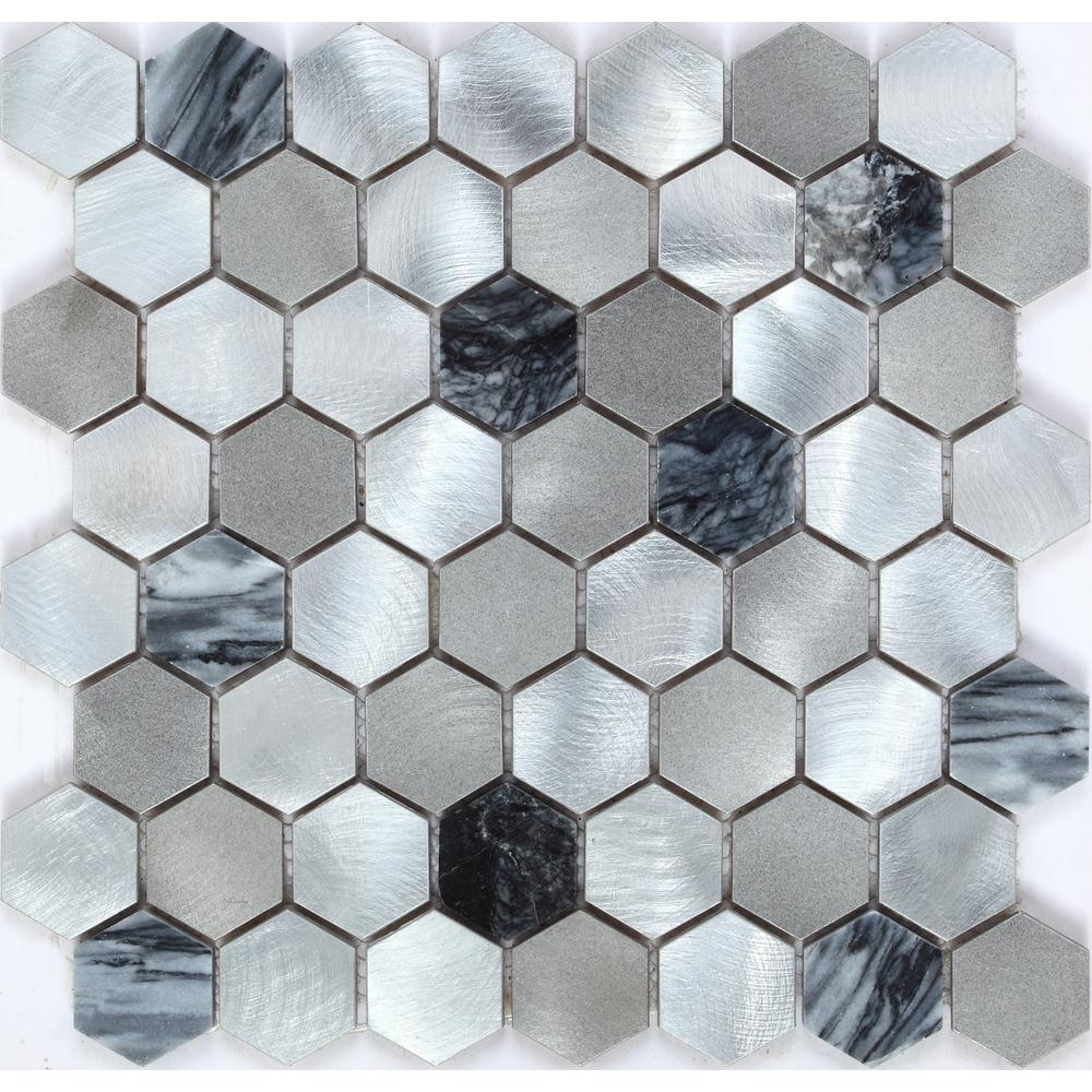 - CHENX 11.89 In. X 12.40 In. X 6 Mm Aluminum And Stone Mosaic