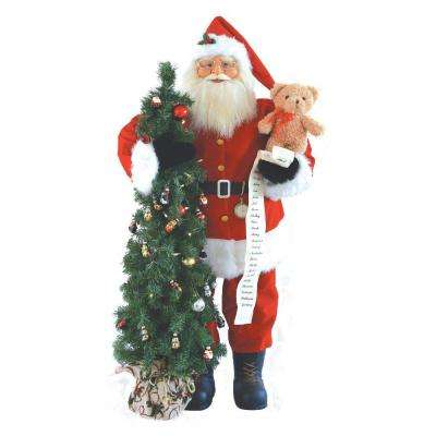 48 in. Santa with Teddy Bear and Tree