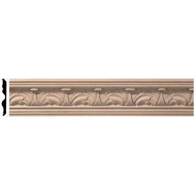 5 in. x 96 in. x 4-1/2 in. Unfinished Wood Maple Acanthus Leaf Carved Crown Moulding