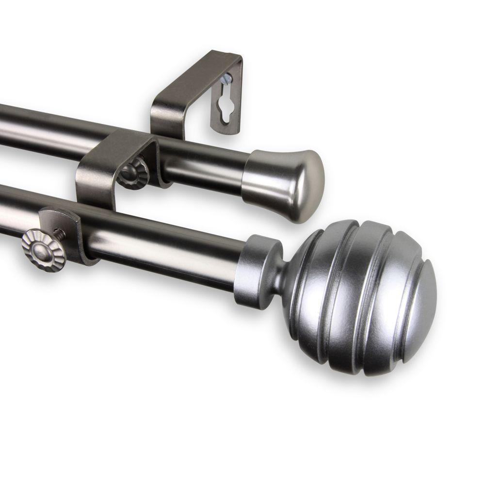 Rod Desyne 66 In 120 In Telescoping Double Curtain Rod Kit In Satin Nickel With Poise Finial