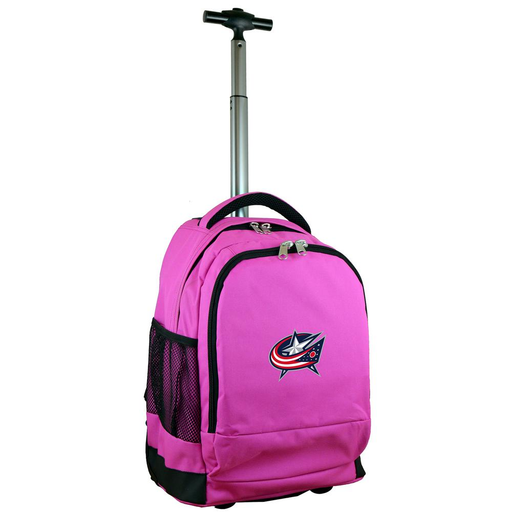 NHL Columbus Blue Jackets 19 in. Pink Wheeled Premium Backpack