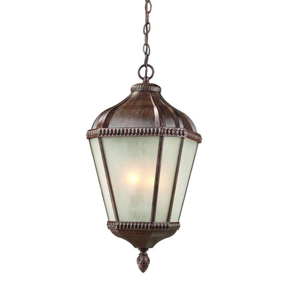 Tulen Lawrence 3-Light Outdoor Weathered Bronze Incandescent Hanging Pendant