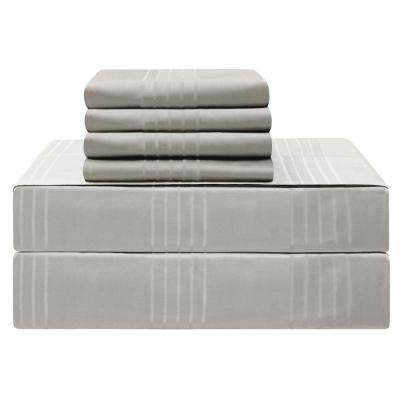Premium Cal. King 6-Piece Silver 420-Thread Count 100% Cotton Sheet Set