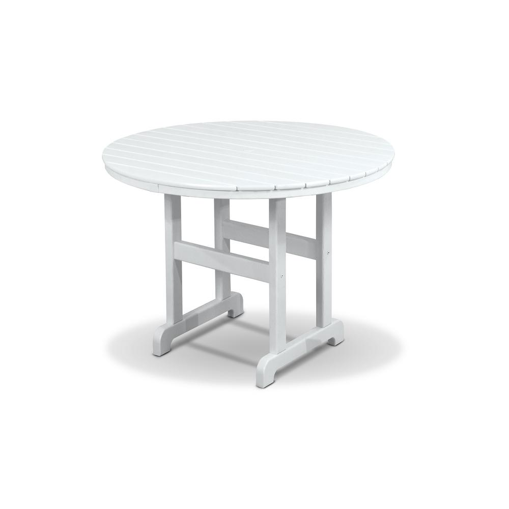 Trex Outdoor Furniture Monterey Bay 36 In. Classic White Round Patio Dining  Table
