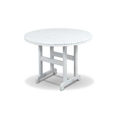 Monterey Bay Classic White Plastic Round Outdoor Dining Table