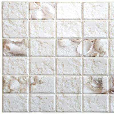 3D Falkirk Retro 10/1000 in. x 38 in. x 19 in. White Faux Distressed Stone Shells PVC Wall Panel