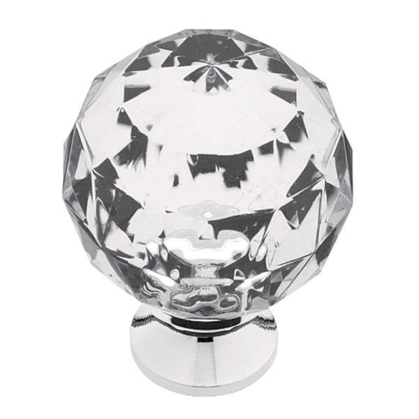 1-3/16 in. (30mm) Chrome and Clear Faceted Acrylic Round Cabinet Knob