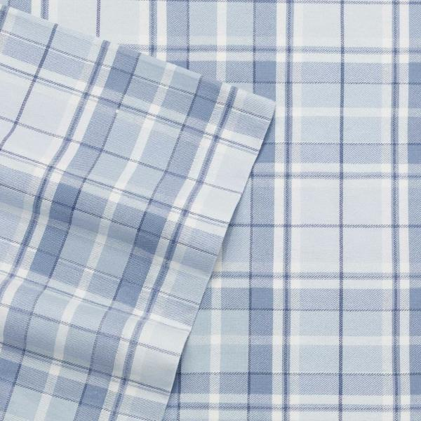 Laura Ashley Mulholland Plaid Blue 4-Piece King Cotton-Flannel Sheet Set