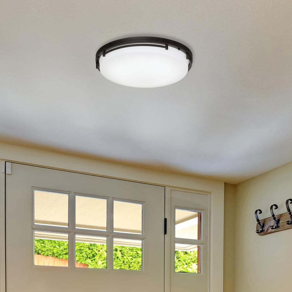 Hampton Bay 18 In Rail Oil Rubbed Bronze Integrated Led Flush Mount