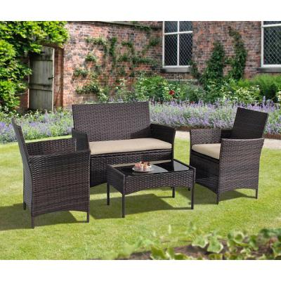 4-Piece Plastic Outdoor Bistro Set with Sofa and Chairs with Brown Cushions