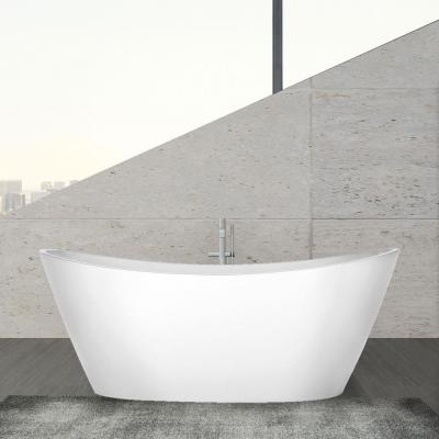 69 in. Acrylic Freestanding Bathtub Flatbottom Stand Alone Tub with Contemporary Modern Design in Glossy White