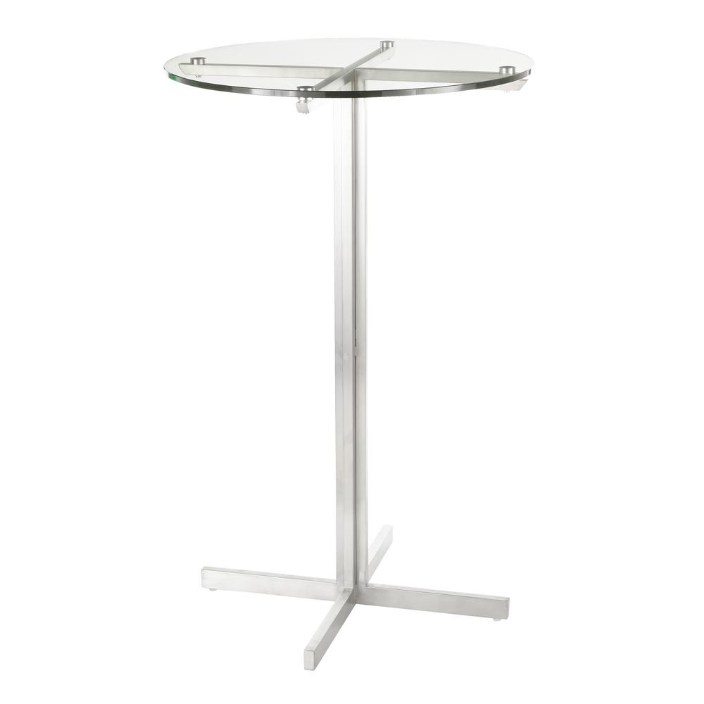 Lumisource Fuji Round Bar Table With Clear Tempered Gl Top