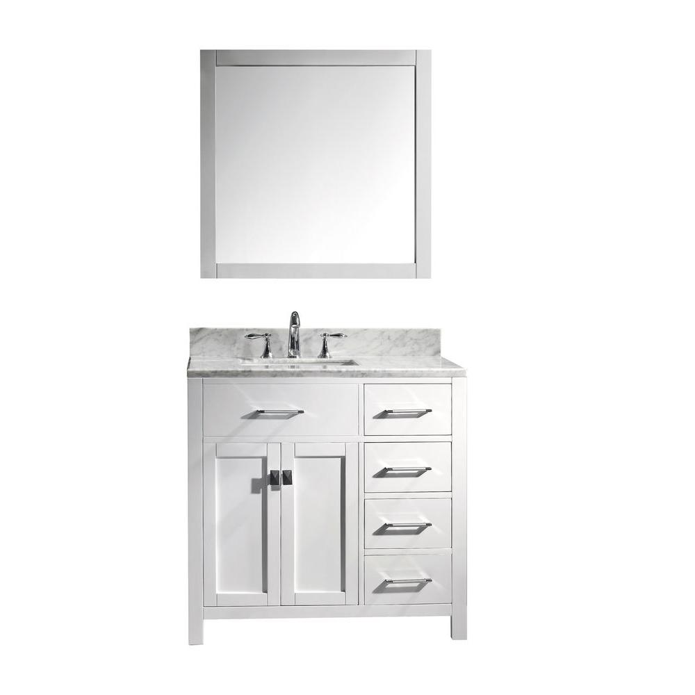 caroline parkway 36 in single vanity in white with marble vanity top in italian carrara - White Bathroom Vanity 36