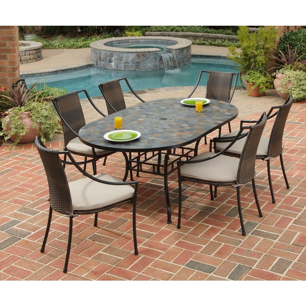 Home Styles Stone Harbor 7 Piece Oval Patio Dining Set With Taupe Cushions 5601 338 The Depot