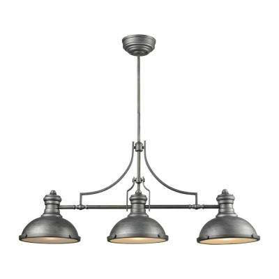 Chadwick 3 Light Weathered Zinc Billiard Light