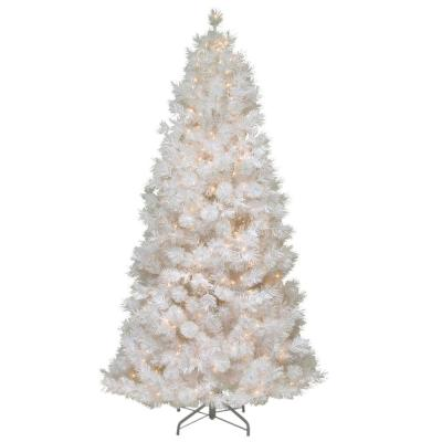 7.5 ft. Wispy Willow Grande White Slim Artificial Christmas Tree with Clear Lights