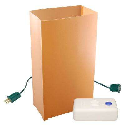 electric luminaria kit in tan with lumabases 10 count