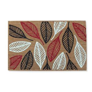 A1HC First Impression Vilfred Leaf Flocked 24 inch x 36 inch Coir Door Mat by