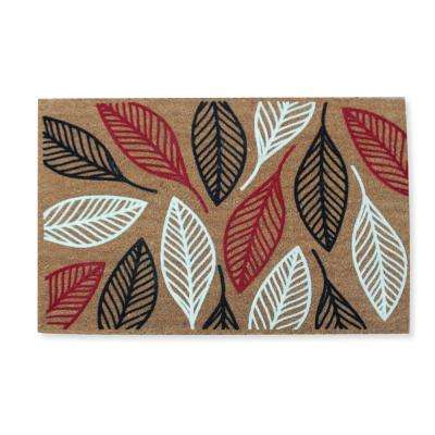 A1HC First Impression Vilfred Leaf Flocked 24 in. x 36 in. Coir Door Mat