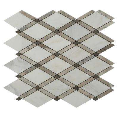 Grand Lagos Gray 11 in. x 12 in. x 10 mm Polished Marble Mosaic Tile