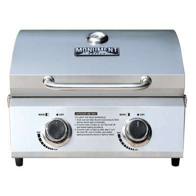 2-Burner Portable Tabletop Propane Gas Grill in Stainless