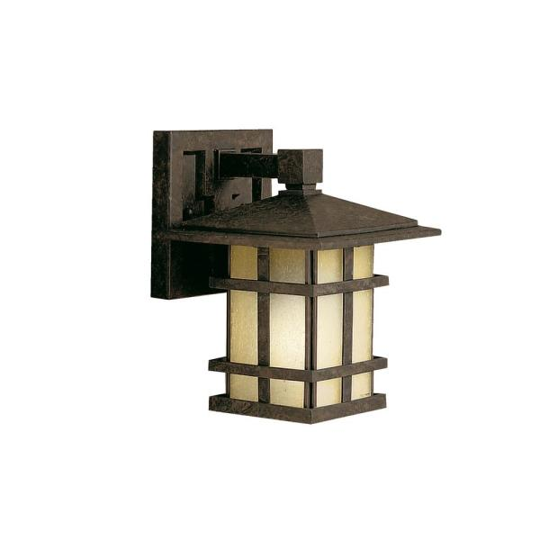Cross Creek 1-Light Aged Bronze Outdoor Wall Mount Sconce with Clear Seeded Glass