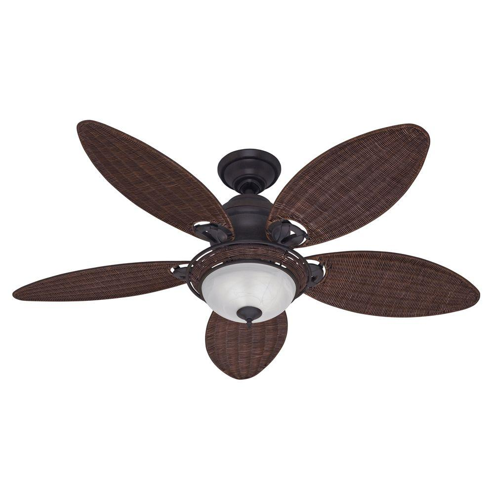 Hunter Caribbean Breeze 54 in. Indoor Weathered Bronze Ceiling Fan with Light Kit