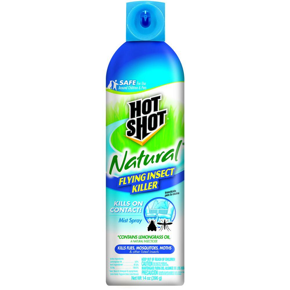 hot shot natural 14 oz. aerosol flying insect killer spray-hg