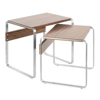 Tea Side Nesting Tables in Walnut and Stainless Steel (Set of 2)